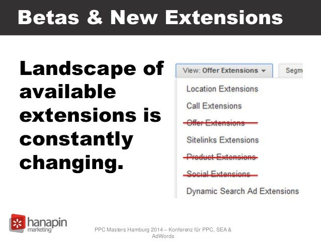 Betas & New Extensions Landscape of available extensions is constantly changing. PPC Masters Hamburg 2014 – Konferenz für ...