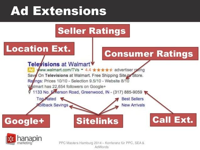 Ad Extensions Seller Ratings Sitelinks Call Ext. Location Ext. Google+ PPC Masters Hamburg 2014 – Konferenz für PPC, SEA &...