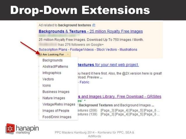 Drop-Down Extensions PPC Masters Hamburg 2014 – Konferenz für PPC, SEA & AdWords