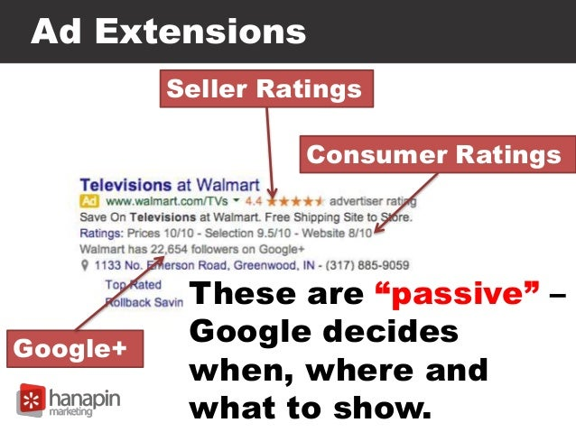 """Ad Extensions Seller Ratings Google+ Consumer Ratings These are """"passive"""" – Google decides when, where and what to show."""