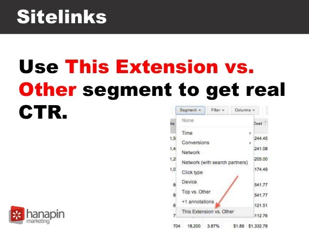 Sitelinks Use This Extension vs. Other segment to get real CTR.