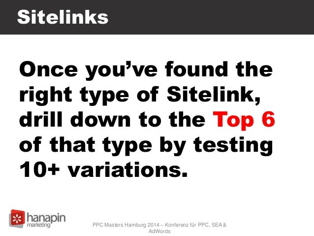Sitelinks Once you've found the right type of Sitelink, drill down to the Top 6 of that type by testing 10+ variations. PP...