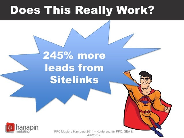 Does This Really Work? 245% more leads from Sitelinks PPC Masters Hamburg 2014 – Konferenz für PPC, SEA & AdWords