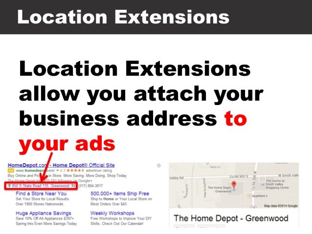 Location Extensions Location Extensions allow you attach your business address to your ads