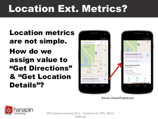 """Location Ext. Metrics? Location metrics are not simple. How do we assign value to """"Get Directions"""" & """"Get Location Details..."""