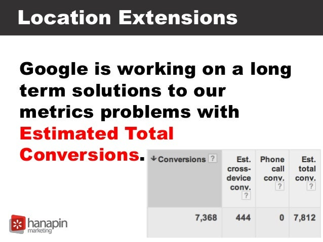 Location Extensions Google is working on a long term solutions to our metrics problems with Estimated Total Conversions.