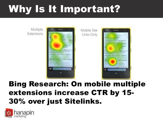 Why Is It Important? Bing Research: On mobile multiple extensions increase CTR by 15- 30% over just Sitelinks.