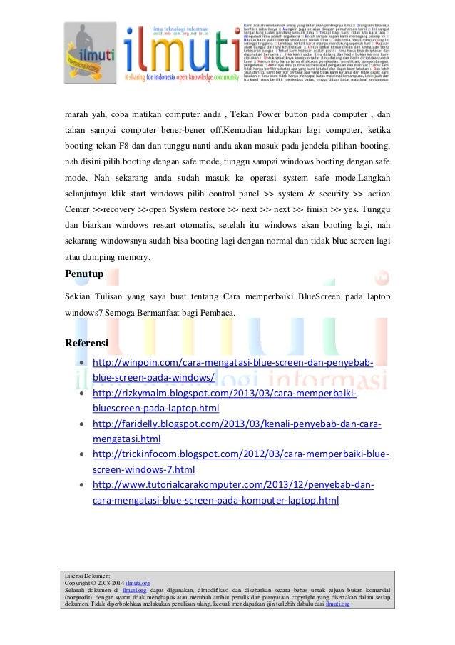 Ade Yohan Hayumi Cara Memperbaiki Bluescreen Pada Laptop Windows 7
