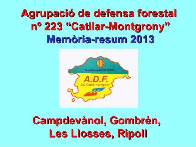 """Agrupació de defensa forestalAgrupació de defensa forestal nº 223 """"Catllar-Montgrony""""nº 223 """"Catllar-Montgrony"""" Memòria-re..."""
