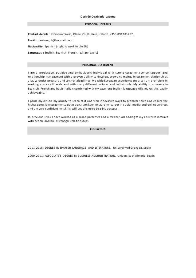 Desirée Cuadrado Lapena PERSONAL DETAILS Contact details : Firmount West, Clane. Co. Kildare, Ireland. +353 894283287, Ema...