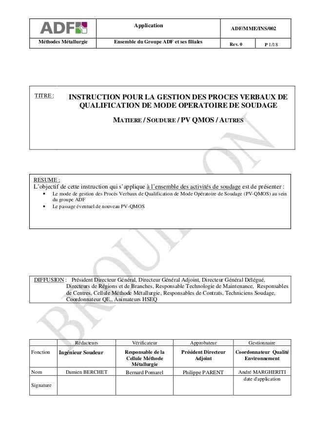 Application                                ADF/MME/INS/002   Méthodes Métallurgie               Ensemble du Groupe ADF et ...