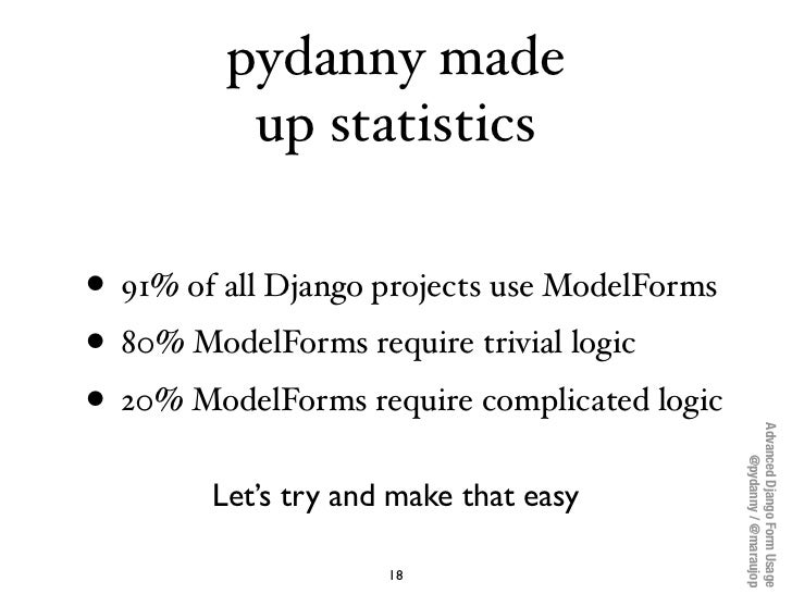 pydanny made          up statistics• 91% of all Django projects use ModelForms• 80% ModelForms require trivial logic• 20% ...