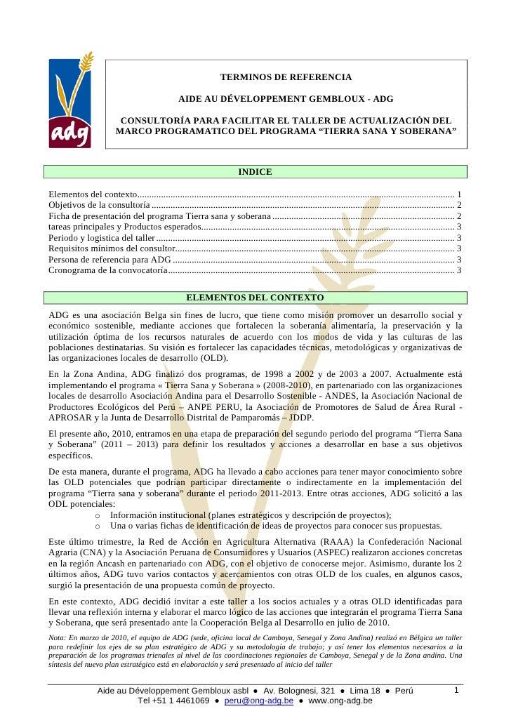 TERMINOS DE REFERENCIA                                                    AIDE AU DÉVELOPPEMENT GEMBLOUX - ADG            ...