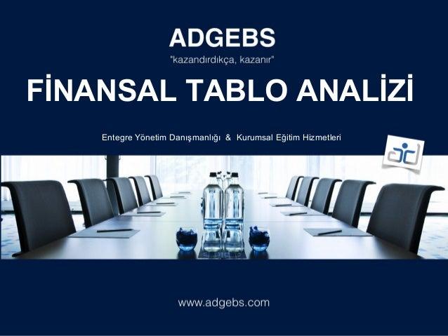 Entegre Yönetim Danışmanlığı & Kurumsal Eğitim Hizmetleri FİNANSAL TABLO ANALİZİ