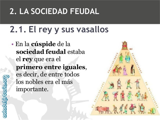 2. LA SOCIEDAD FEUDAL  2.1. El rey y sus vasallos • En la cúspide de la sociedad feudal estaba el rey que era el primero e...