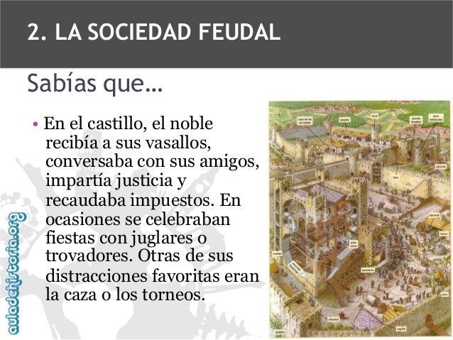 2. LA SOCIEDAD FEUDAL  Sabías que… • En el castillo, el noble recibía a sus vasallos, conversaba con sus amigos, impartía ...