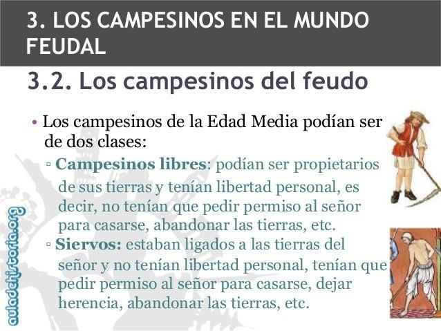 3. LOS CAMPESINOS EN EL MUNDO FEUDAL  3.2. Los campesinos del feudo • Los campesinos de la Edad Media podían ser de dos cl...