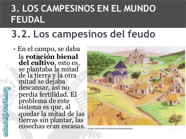 3. LOS CAMPESINOS EN EL MUNDO FEUDAL  3.2. Los campesinos del feudo • En el campo, se daba la rotación bienal del cultivo,...
