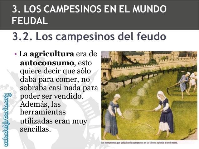 3. LOS CAMPESINOS EN EL MUNDO FEUDAL  3.2. Los campesinos del feudo • La agricultura era de autoconsumo, esto quiere decir...