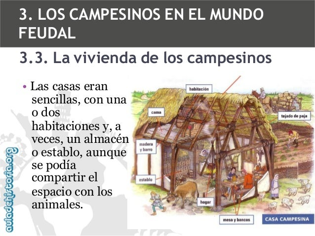 3. LOS CAMPESINOS EN EL MUNDO FEUDAL 3.3. La vivienda de los campesinos • Las casas eran sencillas, con una o dos habitaci...