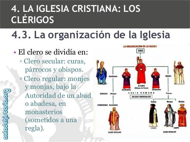 4. LA IGLESIA CRISTIANA: LOS CLÉRIGOS  4.3. La organización de la Iglesia • El clero se dividía en: ▫ Clero secular: curas...