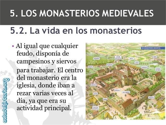 5. LOS MONASTERIOS MEDIEVALES 5.2. La vida en los monasterios • Al igual que cualquier feudo, disponía de campesinos y sie...
