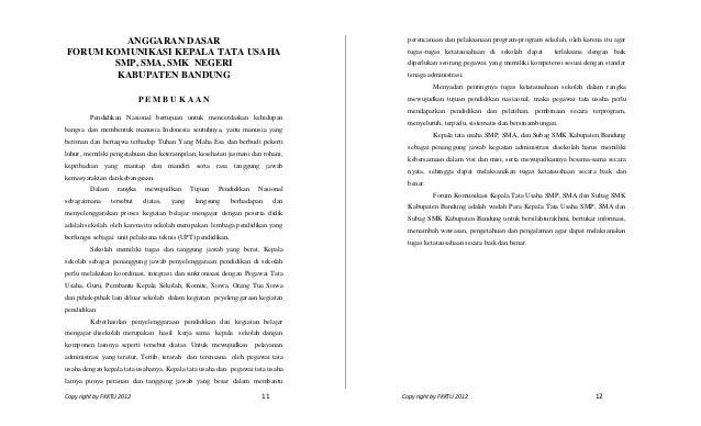 Copy right by FKKTU 2012 11 Copy right by FKKTU 2012 12ANGGARAN DASARFORUM KOMUNIKASI KEPALA TATA USAHASMP, SMA, SMK NEGER...