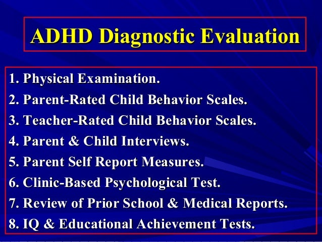 Psychological tests for adhd