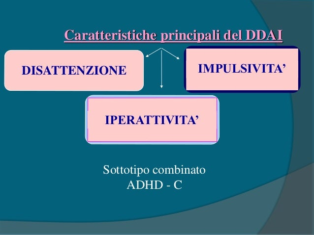 Caratteristiche principali del DDAI DISATTENZIONE IPERATTIVITA' IMPULSIVITA' Sottotipo prevalentemente disattento ADHD - I