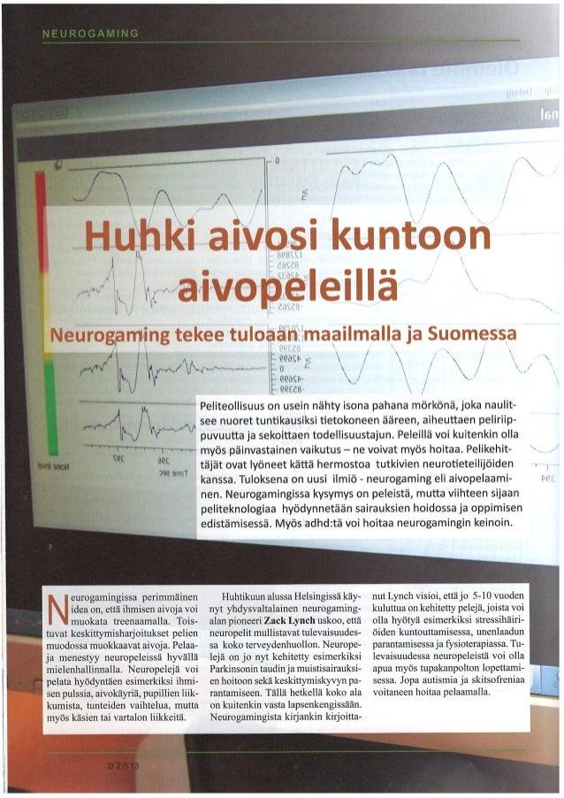 adhd-liiton jäsenleti 2/2013, Neurogaming @ Vastaamo.fi