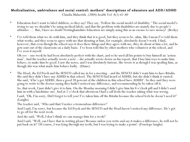 medicalization of adhd Read this essay on medicalization come browse our large digital warehouse of free sample essays get the knowledge you need in order to pass your classes and more.
