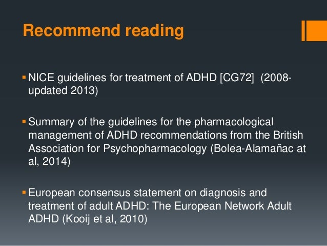 protocols for adult adhd