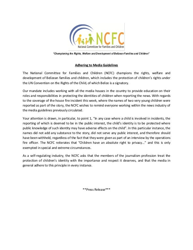 Adhering to Media Guidelines The National Committee for Families and Children (NCFC) champions the rights, welfare and dev...