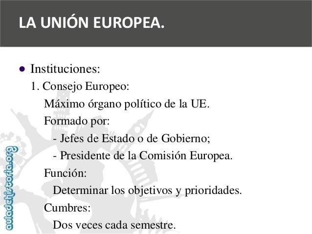   Instituciones:  1. Consejo Europeo:  Máximo órgano político de la UE.  Formado por:  -Jefes de Estado o de Gobierno;  -...