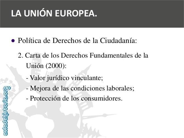   Política de Derechos de la Ciudadanía:  2. Carta de los Derechos Fundamentales de la  Unión (2000):  -Valor jurídico vi...