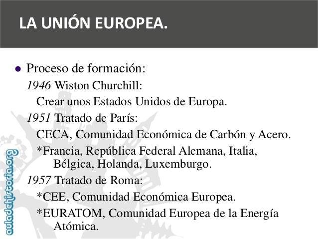   Proceso de formación:  1946 Wiston Churchill:  Crear unos Estados Unidos de Europa.  1951 Tratado de París:  CECA, Comu...