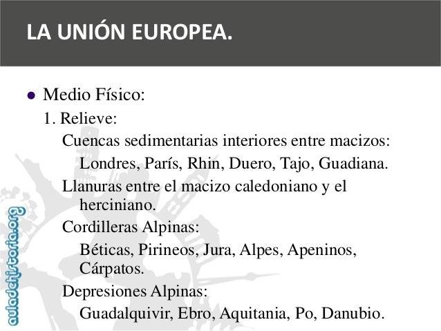   Medio Físico:  1. Relieve:  Cuencas sedimentarias interiores entre macizos:  Londres, París, Rhin, Duero, Tajo, Guadian...