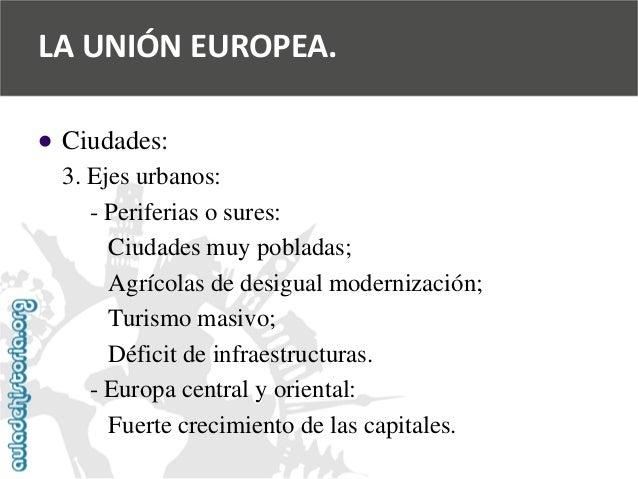   Ciudades:  3. Ejes urbanos:  -Periferias o sures:  Ciudades muy pobladas;  Agrícolas de desigual modernización;  Turism...