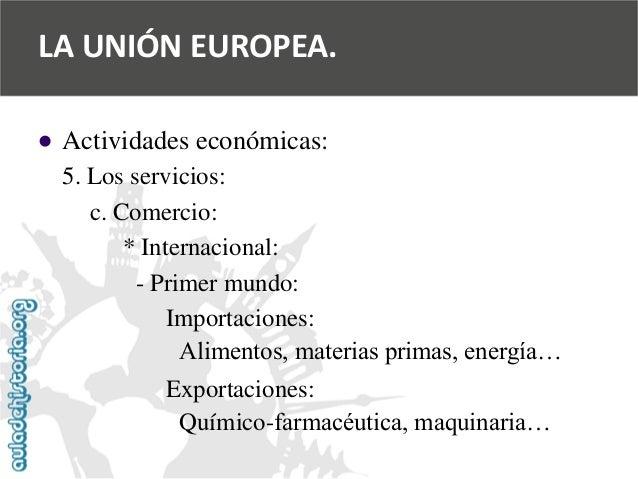   Actividades económicas:  5. Los servicios:  c. Comercio:  * Internacional:  -Primer mundo:  Importaciones:  Alimentos, ...