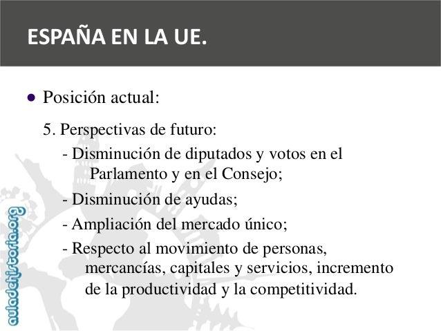   Posición actual:  5. Perspectivas de futuro:  -Disminución de diputados y votos en el  Parlamento y en el Consejo;  -Di...