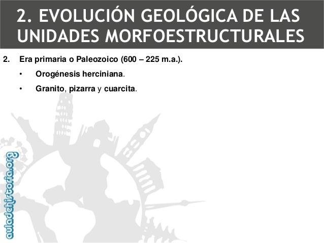 Rocas paleozoicas: Cuarcita2. EVOLUCIÓN GEOLÓGICA DE LAS UNIDADES MORFOESTRUCTURALES