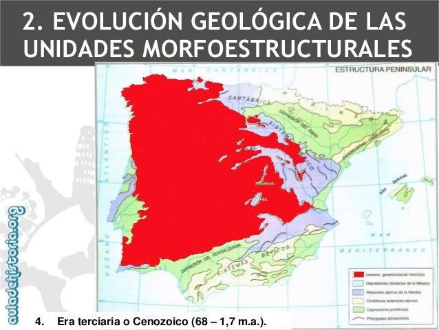 4.Era terciaria o Cenozoico (68 –1,7 m.a.).  Orogénesis alpinaFractura del zócalo de la MesetaFallasCuencas sedimentariasA...