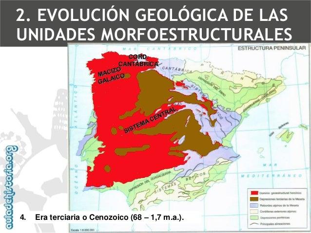 Rejuvenecimiento de la Meseta(estructura germánica)  4.Era terciaria o Cenozoico (68 –1,7 m.a.).  Orogénesis alpinaFractur...