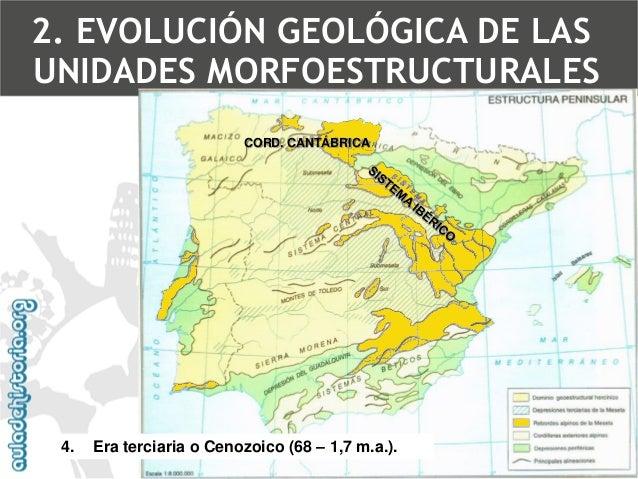 Rejuvenecimiento de la Meseta(estructura germánica)  •Pirineos  •Cordilleras Béticas  •Sistema Ibérico  •Este de la C. Can...