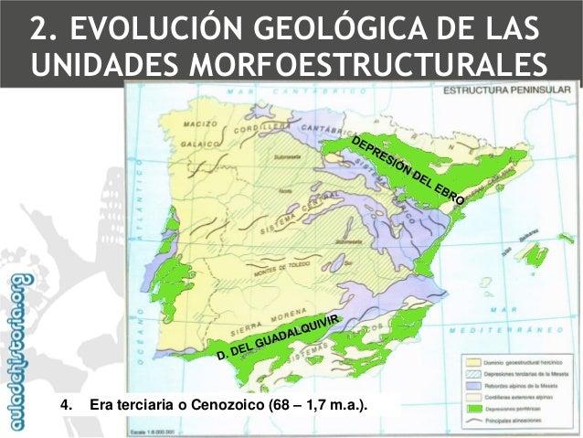 Rejuvenecimiento de la Meseta(estructura germánica) red fluvial  •Del Ebro  •Del Guadalquivir  •Sistema Ibérico  •Este de ...