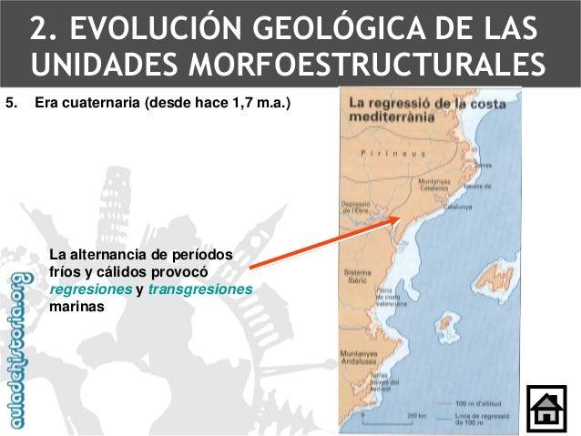 5.Era cuaternaria (desde hace 1,7 m.a.) 2. Evolución geológica de las unidades morfoestructurales-Tema 1b. Las unidades mo...