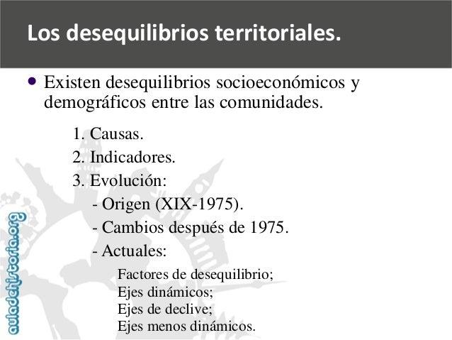 Los desequilibrios territoriales.    Existen desequilibrios socioeconómicos y  demográficos entre las comunidades.  1. Ca...