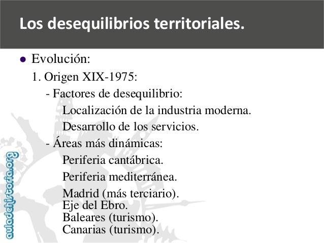   Evolución:  1. Origen XIX-1975:  -Factores de desequilibrio:  Localización de la industria moderna.  Desarrollo de los ...