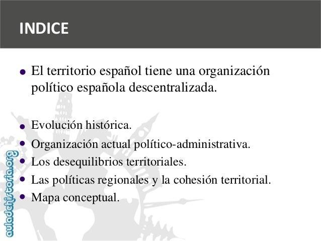INDICE              El territorio español tiene una organización  político española descentralizada.  Evolución hist...