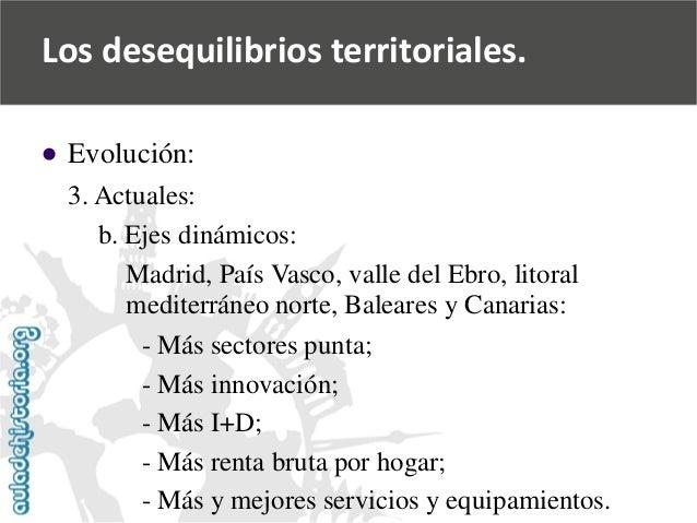   Evolución:  3. Actuales:  b. Ejes dinámicos:  Madrid, País Vasco, valle del Ebro, litoral  mediterráneo norte, Baleares...